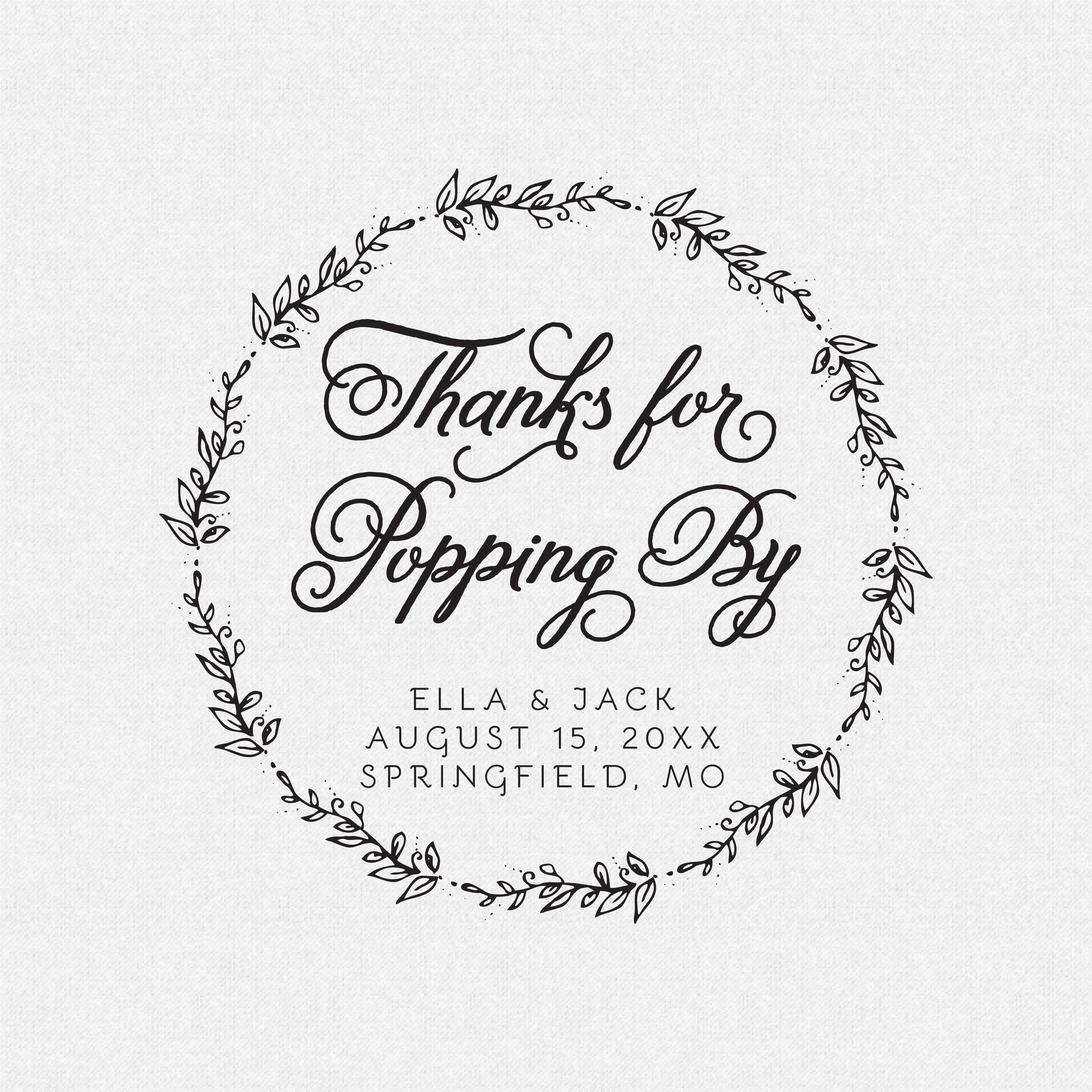 Thanks For Popping By Personalized Wedding Favor Stamp