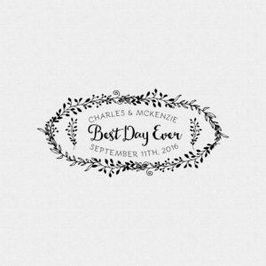 Best Day Ever Floral Vines Wedding Favor Stamp – Style #T536