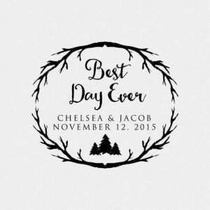 Branches Best Day Ever Fall or Forest Wedding Favor Rubber Stamp with Trees – Style #T547